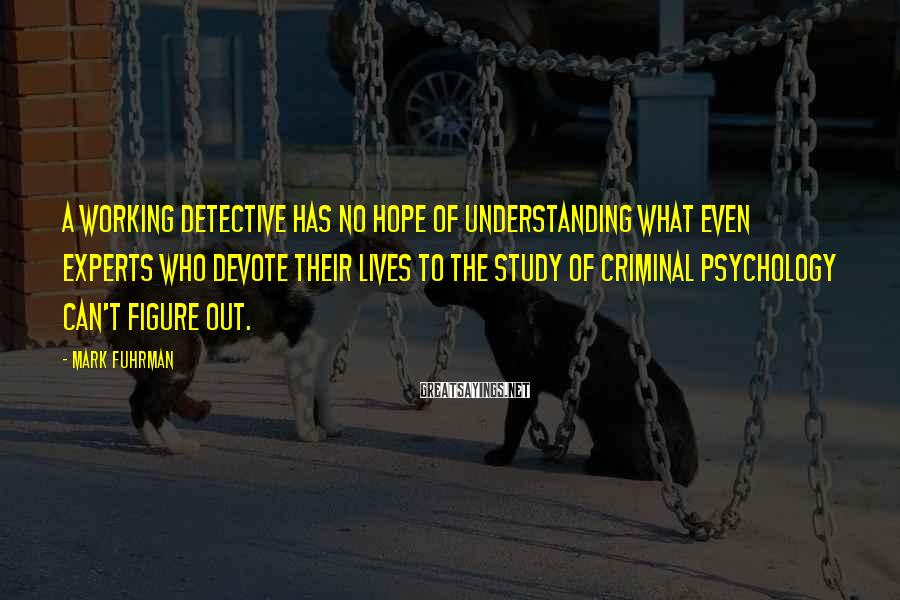 Mark Fuhrman Sayings: A working detective has no hope of understanding what even experts who devote their lives