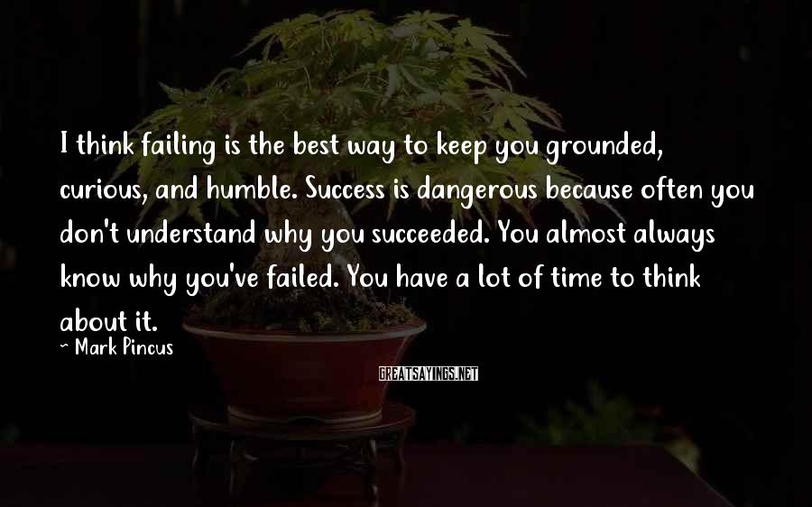 Mark Pincus Sayings: I think failing is the best way to keep you grounded, curious, and humble. Success