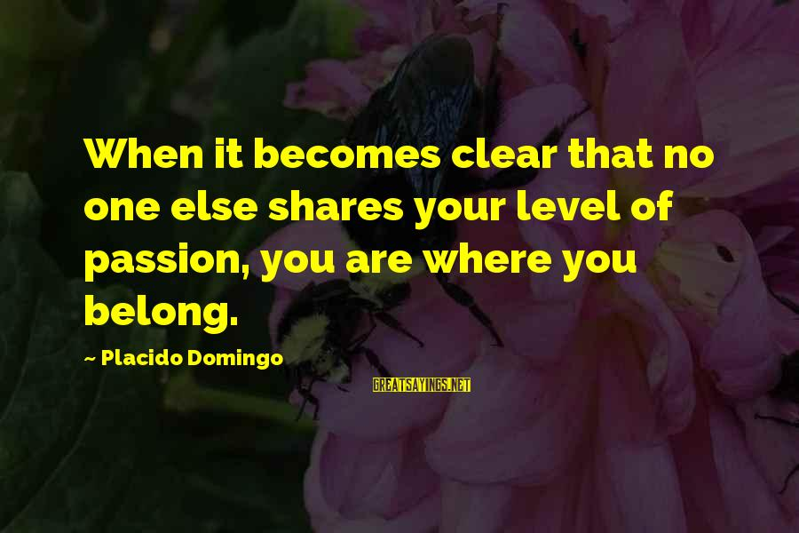 Mark Twain Typical Sayings By Placido Domingo: When it becomes clear that no one else shares your level of passion, you are