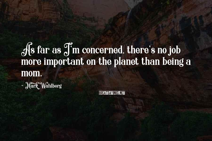 Mark Wahlberg Sayings: As far as I'm concerned, there's no job more important on the planet than being