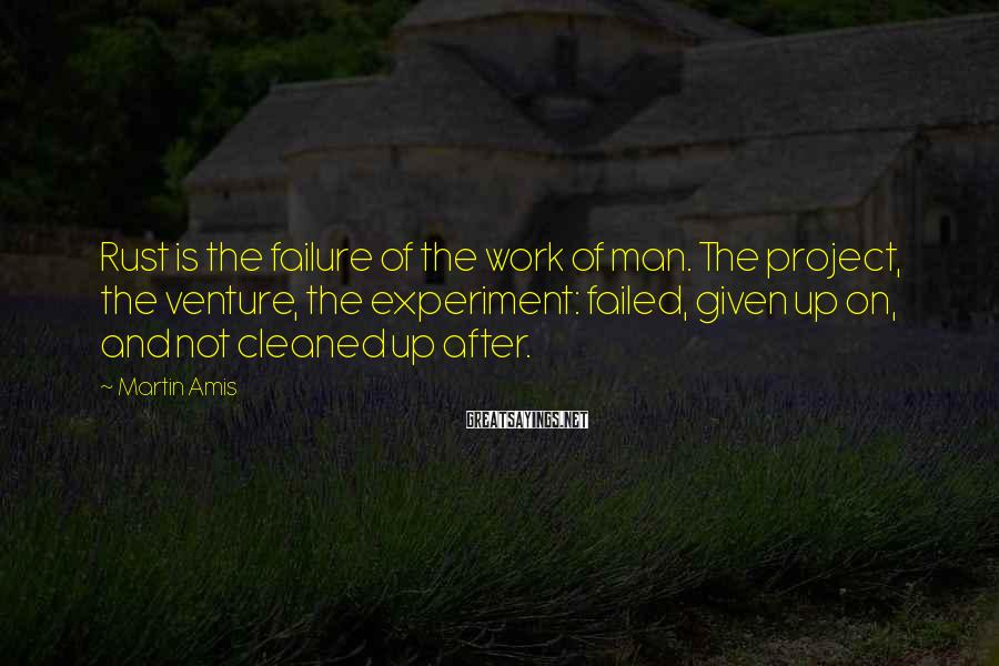 Martin Amis Sayings: Rust is the failure of the work of man. The project, the venture, the experiment: