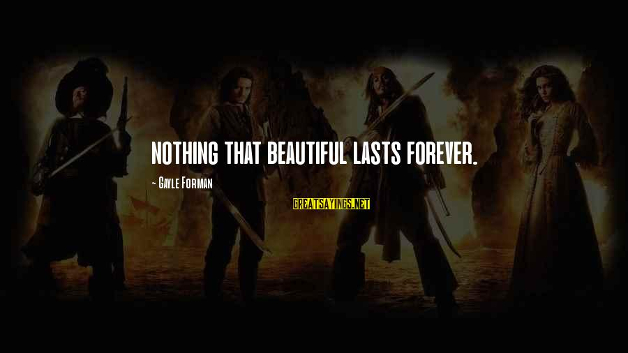 Martyrdoms Sayings By Gayle Forman: nothing that beautiful lasts forever.