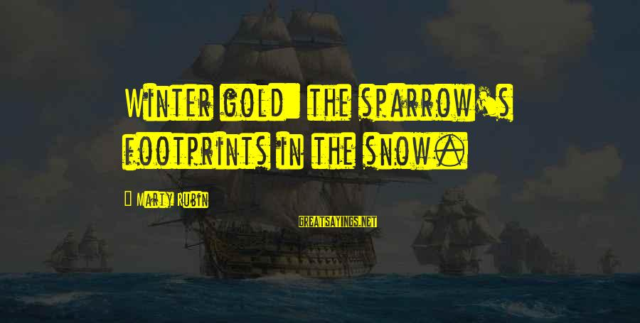 Marty's Sayings By Marty Rubin: Winter gold: the sparrow's footprints in the snow.