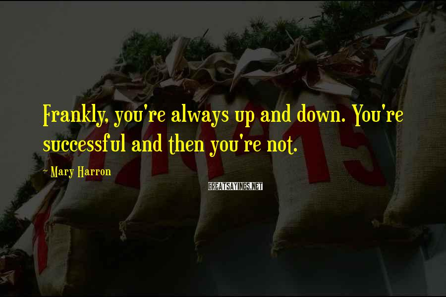 Mary Harron Sayings: Frankly, you're always up and down. You're successful and then you're not.