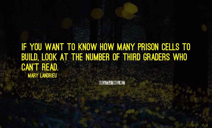 Mary Landrieu Sayings: If you want to know how many prison cells to build, look at the number