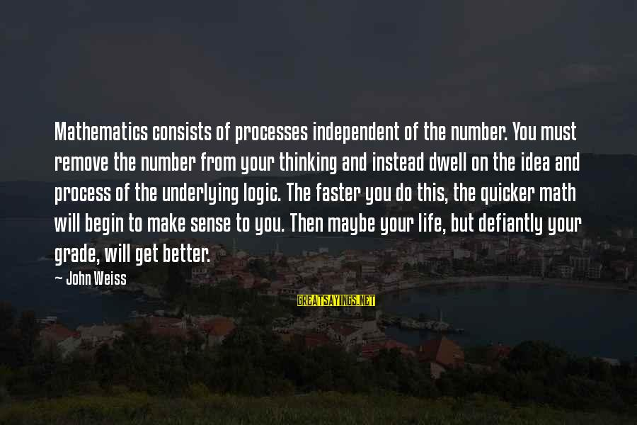 Math And Logic Sayings By John Weiss: Mathematics consists of processes independent of the number. You must remove the number from your