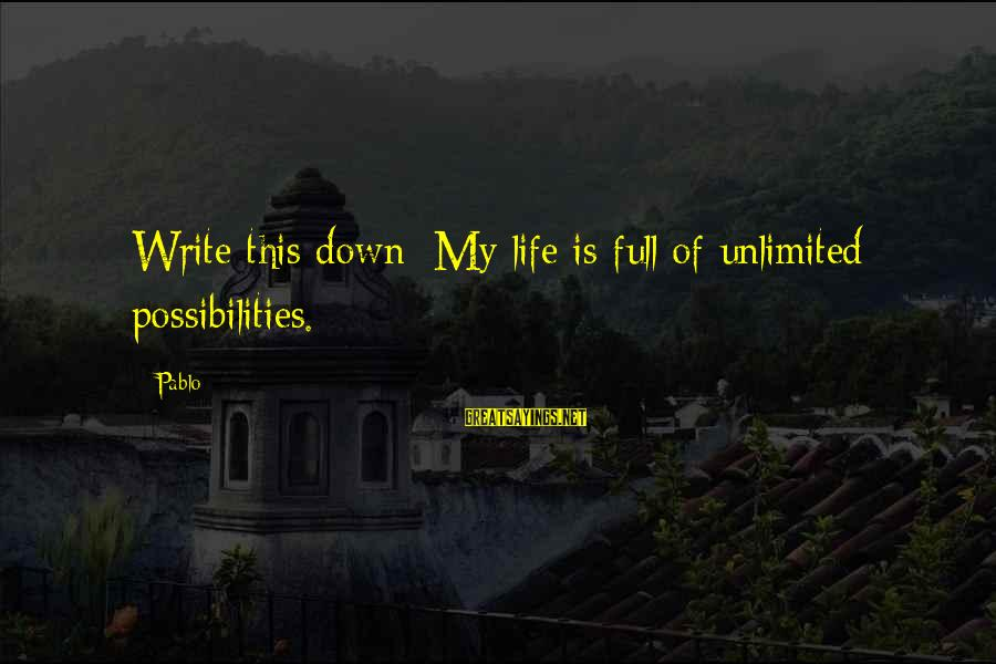 Matt Cutts Sayings By Pablo: Write this down: My life is full of unlimited possibilities.