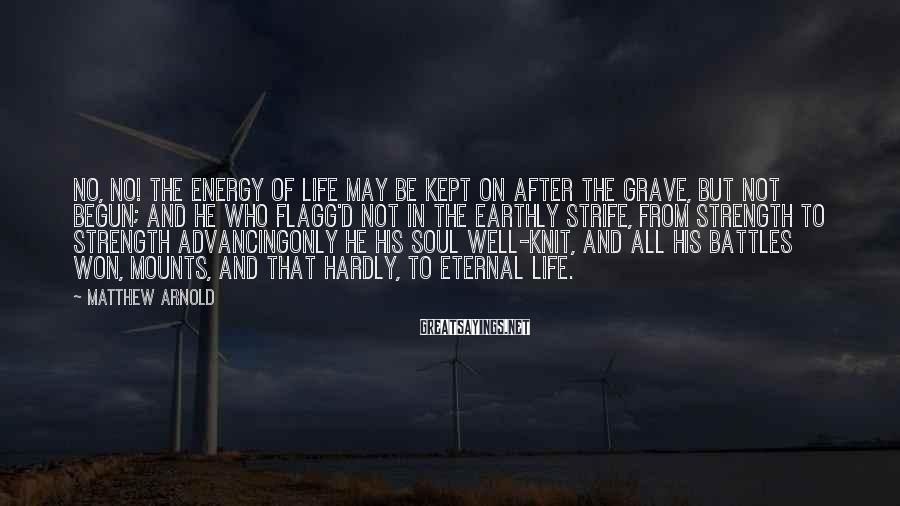 Matthew Arnold Sayings: No, no! The energy of life may be Kept on after the grave, but not