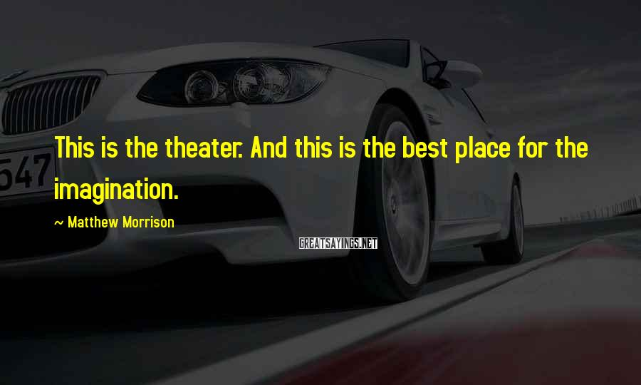 Matthew Morrison Sayings: This is the theater. And this is the best place for the imagination.