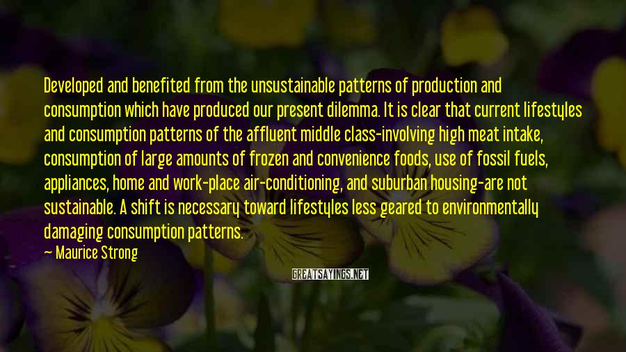 Maurice Strong Sayings: Developed and benefited from the unsustainable patterns of production and consumption which have produced our
