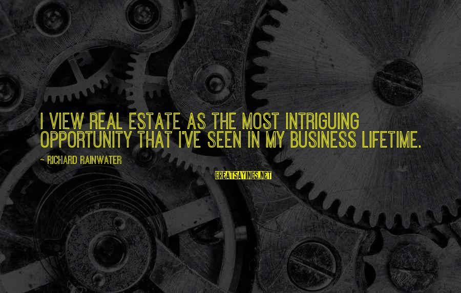Mawla Sayings By Richard Rainwater: I view real estate as the most intriguing opportunity that I've seen in my business