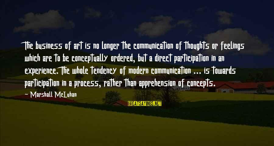 Mcluhan's Sayings By Marshall McLuhan: The business of art is no longer the communication of thoughts or feelings which are