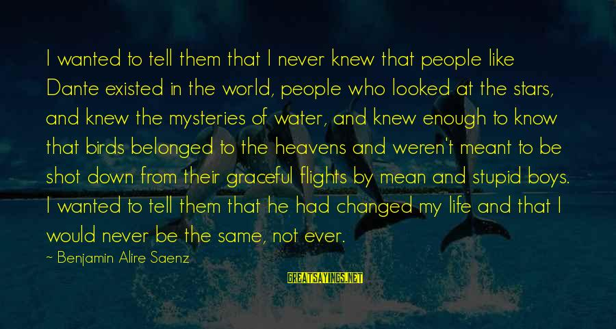 Mean People In Life Sayings By Benjamin Alire Saenz: I wanted to tell them that I never knew that people like Dante existed in