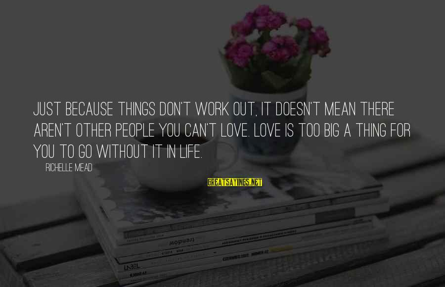 Mean People In Life Sayings By Richelle Mead: Just because things don't work out, it doesn't mean there aren't other people you can't