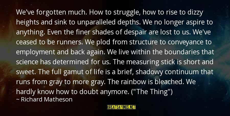 Measuring Stick Sayings By Richard Matheson: We've forgotten much. How to struggle, how to rise to dizzy heights and sink to