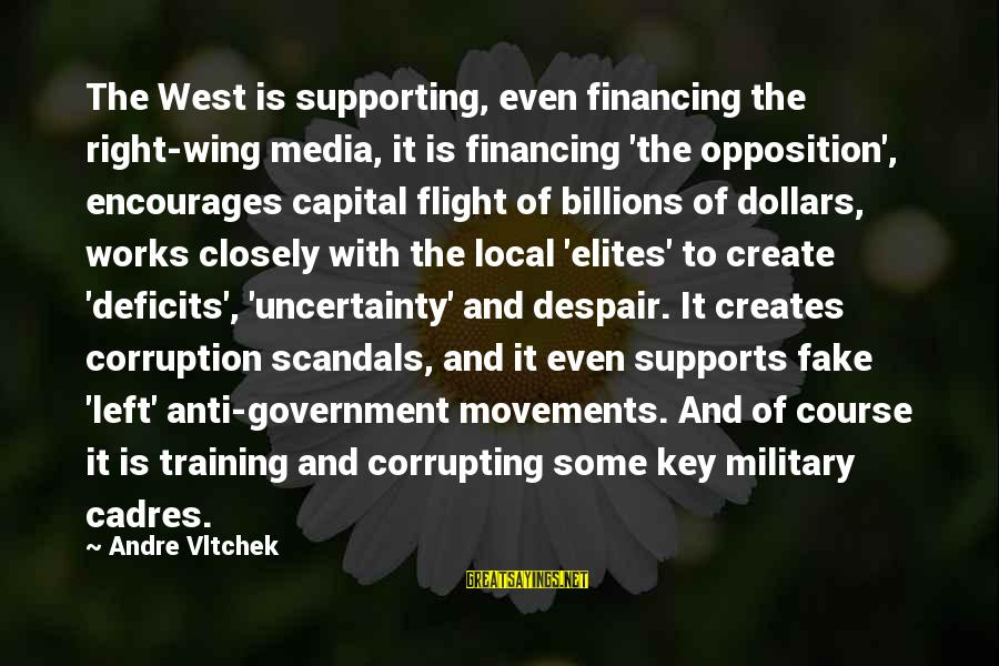 Media Corruption Sayings By Andre Vltchek: The West is supporting, even financing the right-wing media, it is financing 'the opposition', encourages