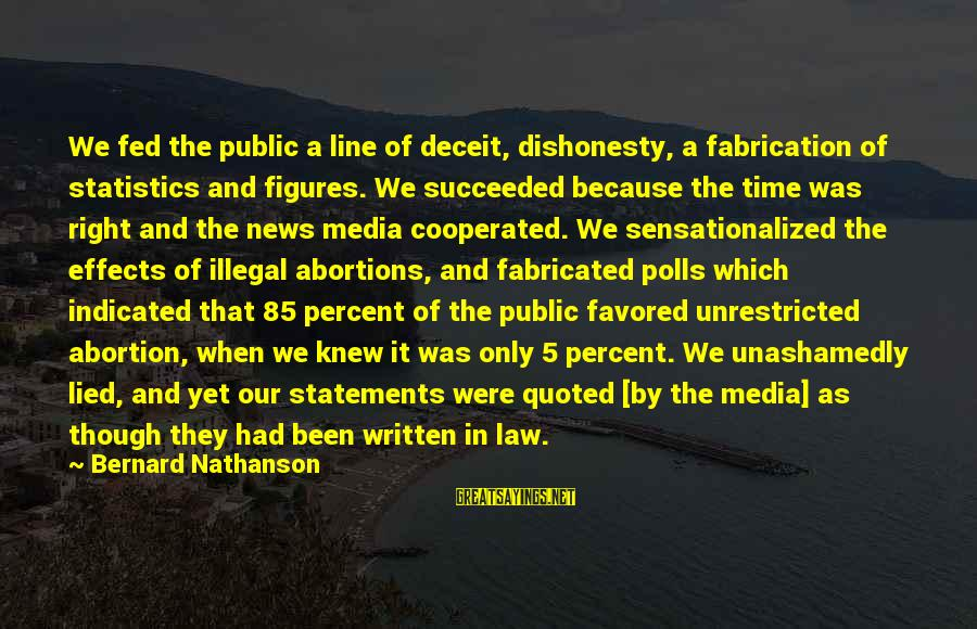 Media Effects Sayings By Bernard Nathanson: We fed the public a line of deceit, dishonesty, a fabrication of statistics and figures.