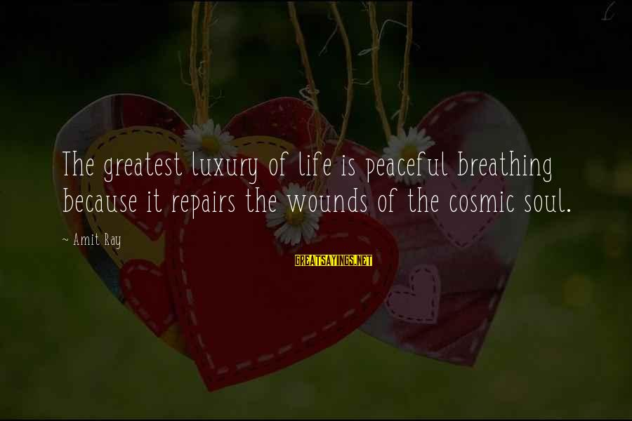 Meditations Sayings By Amit Ray: The greatest luxury of life is peaceful breathing because it repairs the wounds of the