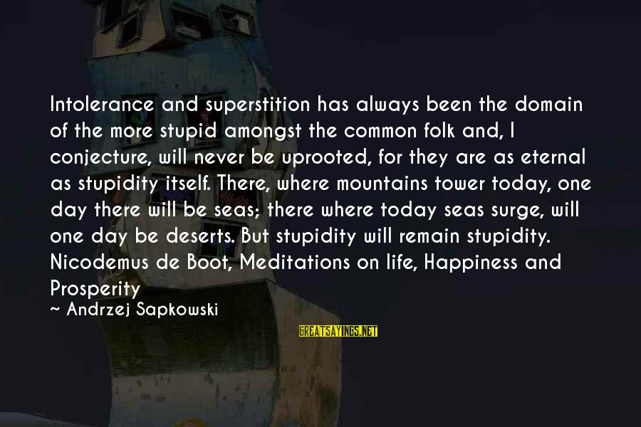 Meditations Sayings By Andrzej Sapkowski: Intolerance and superstition has always been the domain of the more stupid amongst the common