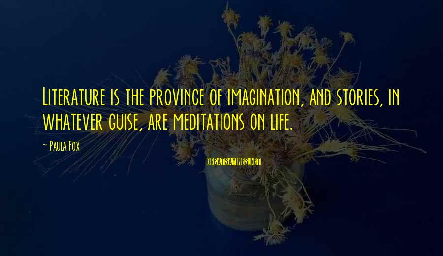 Meditations Sayings By Paula Fox: Literature is the province of imagination, and stories, in whatever guise, are meditations on life.
