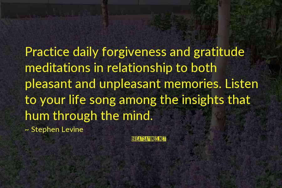 Meditations Sayings By Stephen Levine: Practice daily forgiveness and gratitude meditations in relationship to both pleasant and unpleasant memories. Listen