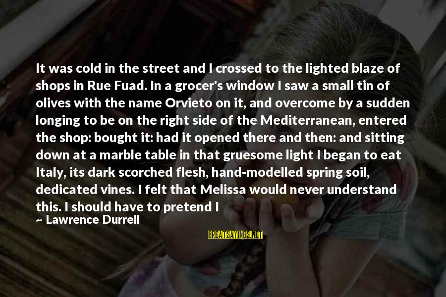 Mediterranean's Sayings By Lawrence Durrell: It was cold in the street and I crossed to the lighted blaze of shops