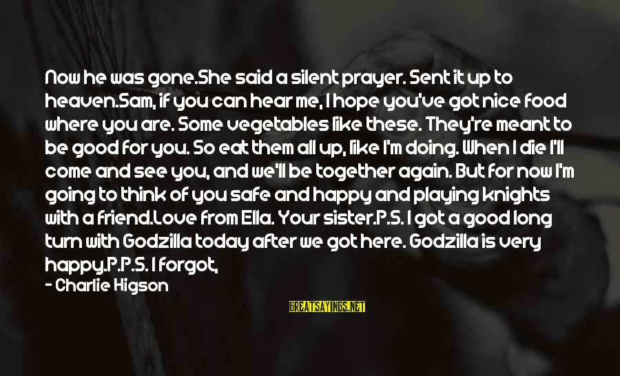 Meet Again Sayings By Charlie Higson: Now he was gone.She said a silent prayer. Sent it up to heaven.Sam, if you