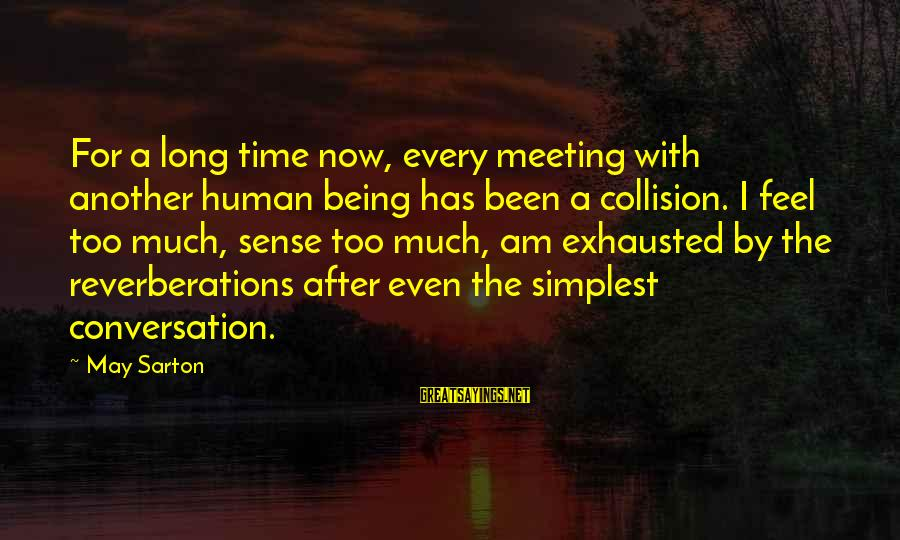 Meeting You After Long Time Sayings By May Sarton: For a long time now, every meeting with another human being has been a collision.