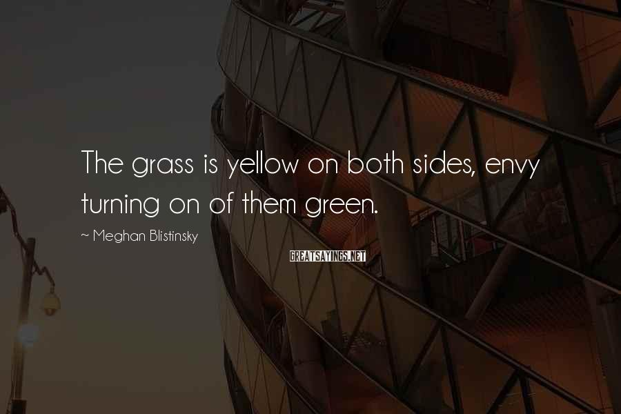 Meghan Blistinsky Sayings: The grass is yellow on both sides, envy turning on of them green.