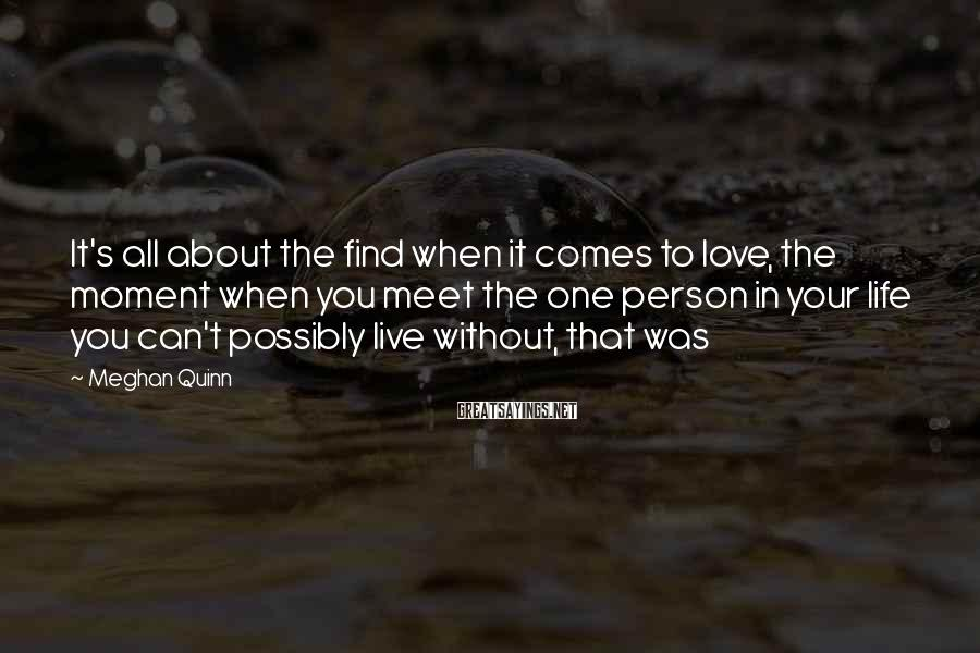 Meghan Quinn Sayings: It's all about the find when it comes to love, the moment when you meet