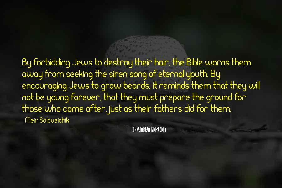 Meir Soloveichik Sayings: By forbidding Jews to destroy their hair, the Bible warns them away from seeking the