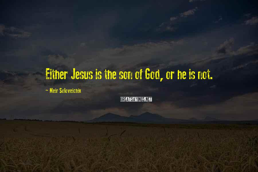 Meir Soloveichik Sayings: Either Jesus is the son of God, or he is not.