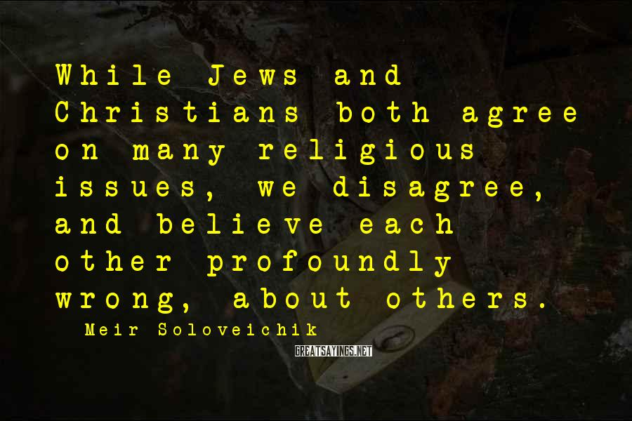 Meir Soloveichik Sayings: While Jews and Christians both agree on many religious issues, we disagree, and believe each