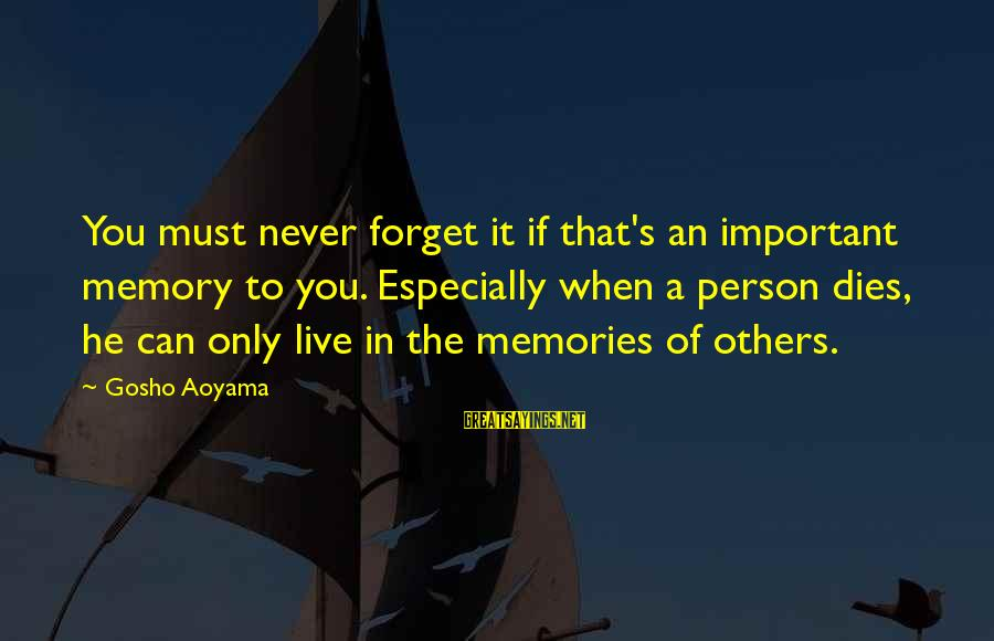Meitantei Conan Sayings By Gosho Aoyama: You must never forget it if that's an important memory to you. Especially when a