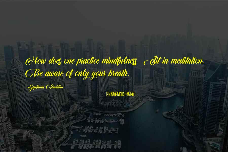 Mekong Sayings By Gautama Buddha: How does one practice mindfulness? Sit in meditation. Be aware of only your breath.