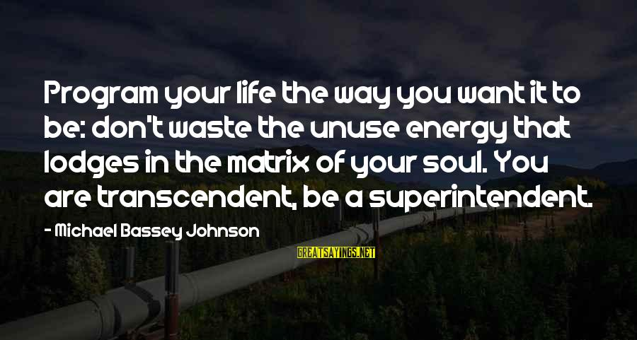 Mekong Sayings By Michael Bassey Johnson: Program your life the way you want it to be: don't waste the unuse energy