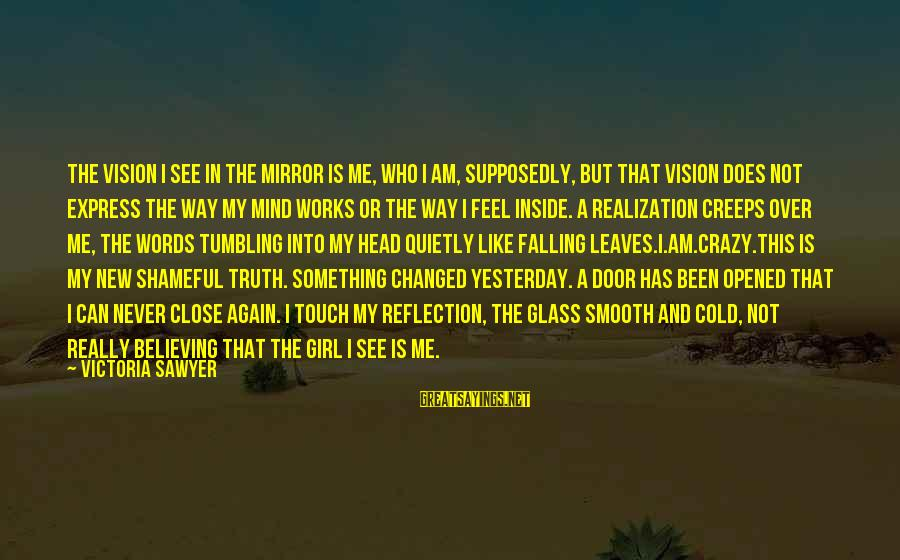 Mental Illness And Sayings By Victoria Sawyer: The vision I see in the mirror is me, who I am, supposedly, but that