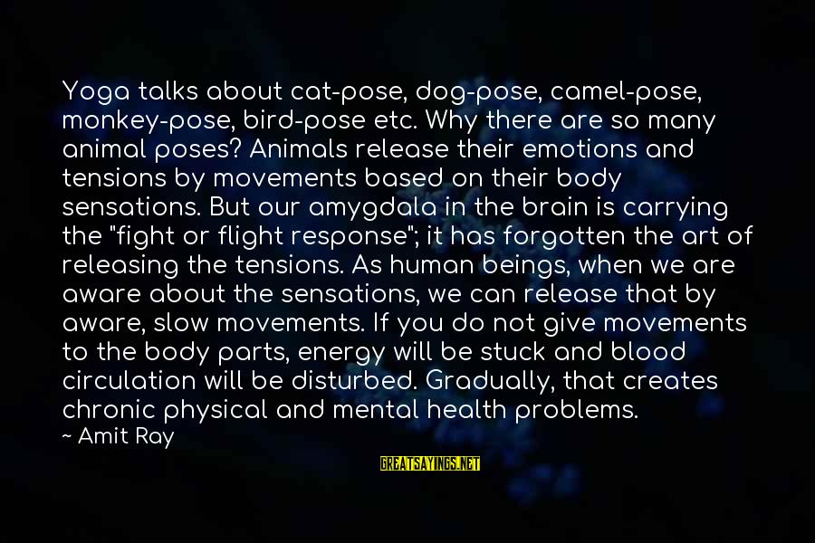 Mental Problems Sayings By Amit Ray: Yoga talks about cat-pose, dog-pose, camel-pose, monkey-pose, bird-pose etc. Why there are so many animal