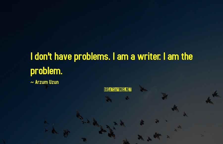 Mental Problems Sayings By Arzum Uzun: I don't have problems. I am a writer. I am the problem.