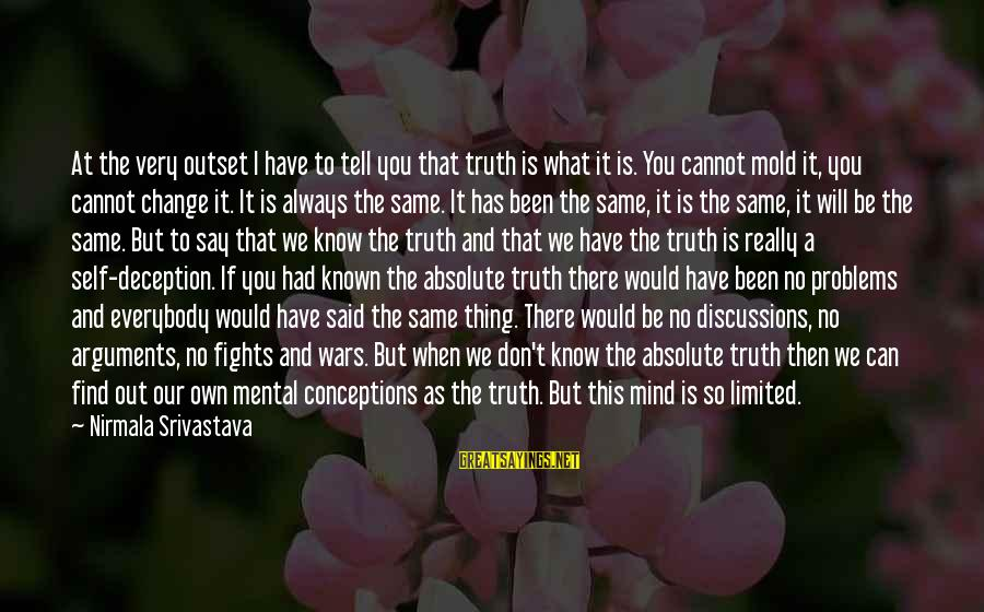 Mental Problems Sayings By Nirmala Srivastava: At the very outset I have to tell you that truth is what it is.