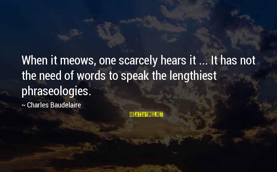 Meows Sayings By Charles Baudelaire: When it meows, one scarcely hears it ... It has not the need of words