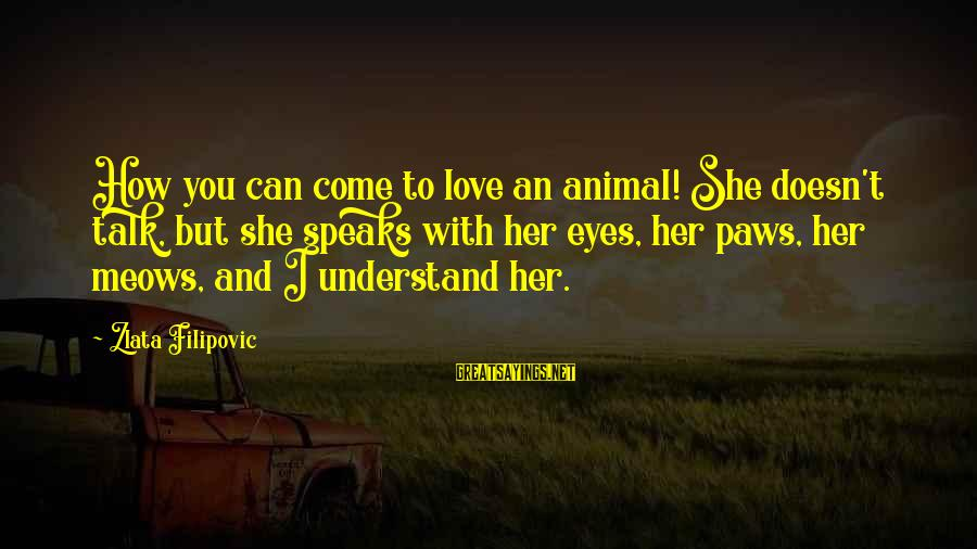 Meows Sayings By Zlata Filipovic: How you can come to love an animal! She doesn't talk, but she speaks with