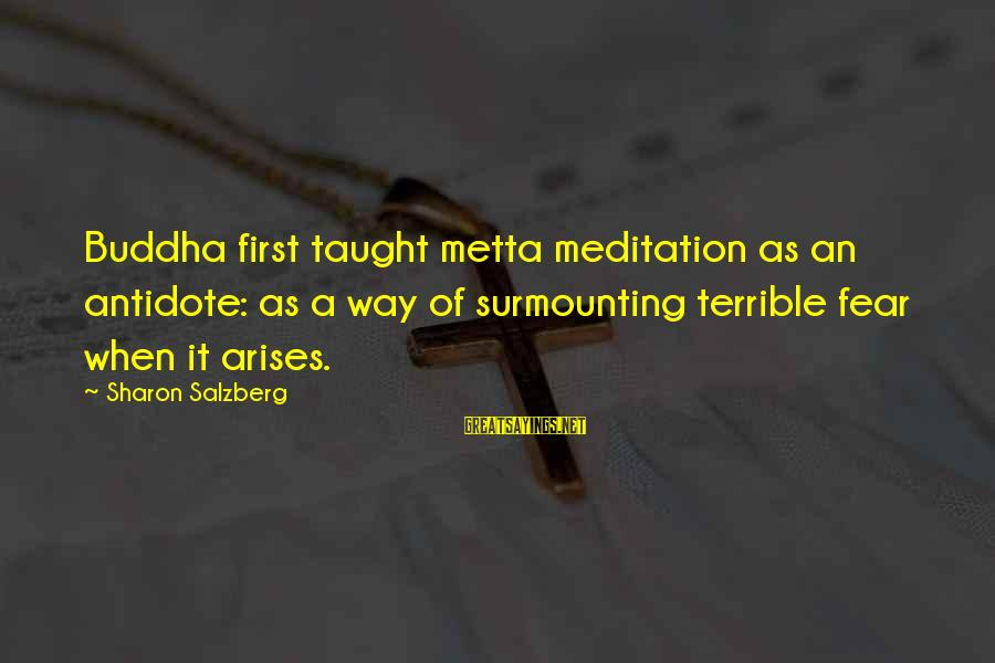 Metta Meditation Sayings By Sharon Salzberg: Buddha first taught metta meditation as an antidote: as a way of surmounting terrible fear