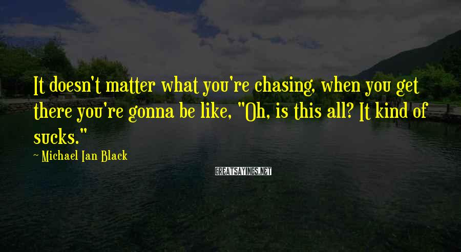 """Michael Ian Black Sayings: It doesn't matter what you're chasing, when you get there you're gonna be like, """"Oh,"""