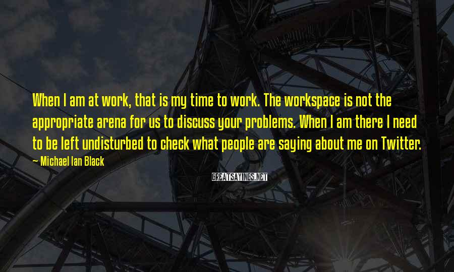 Michael Ian Black Sayings: When I am at work, that is my time to work. The workspace is not