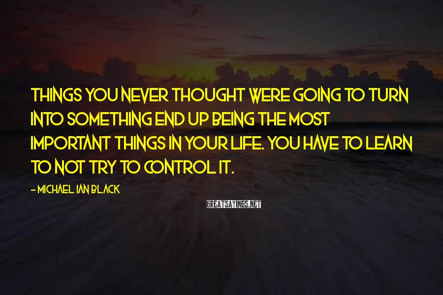Michael Ian Black Sayings: Things you never thought were going to turn into something end up being the most