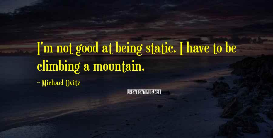 Michael Ovitz Sayings: I'm not good at being static. I have to be climbing a mountain.