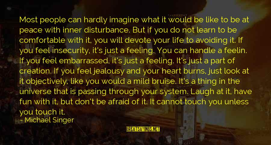 Michael Singer Sayings By Michael Singer: Most people can hardly imagine what it would be like to be at peace with