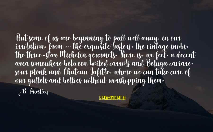 Michelin's Sayings By J.B. Priestley: But some of us are beginning to pull well away, in our irritation, from ...