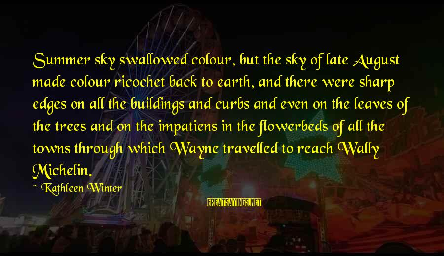 Michelin's Sayings By Kathleen Winter: Summer sky swallowed colour, but the sky of late August made colour ricochet back to